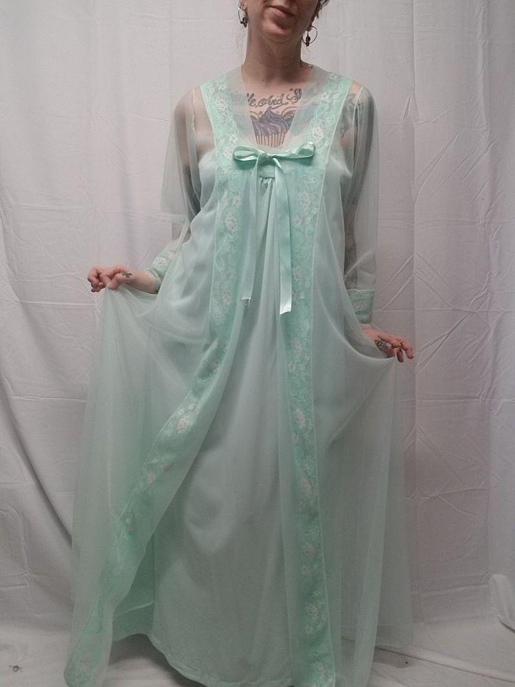 Vtg MOVIE STAR Seafoam Green Nightie Peignoir Chiffon Lace Robe Set Women L  VLV  MovieStar 7f38cce9e