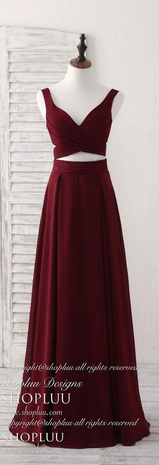 Burgundy two pieces chiffon long prom dress, evening dress
