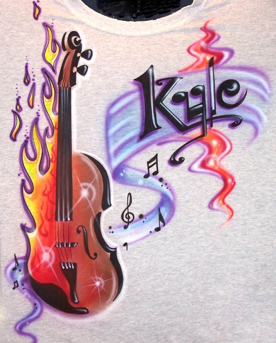 Airbrushed Violin T-Shirt in all kids sizes