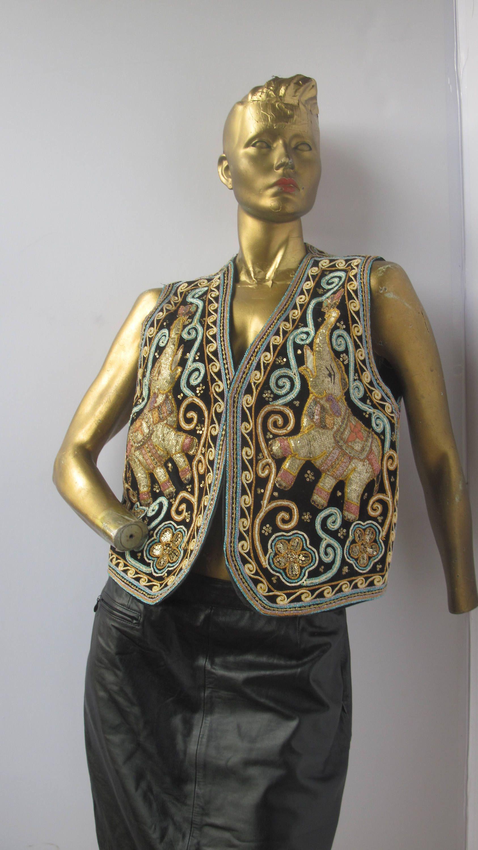 62e893289 vintage 70s stunning black and gold velvet vest