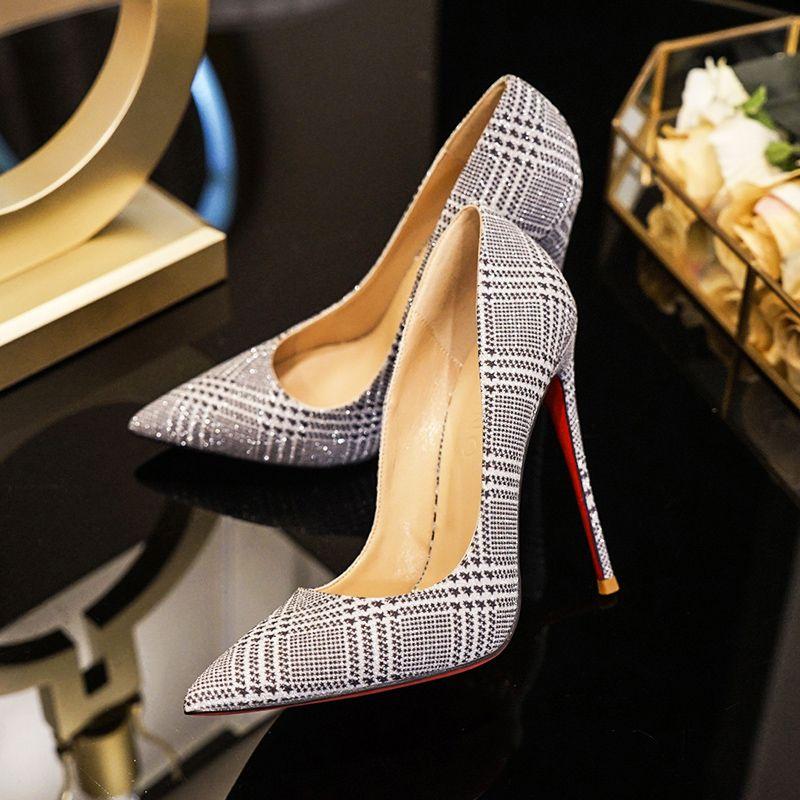 Blyszczace Srebrny Wieczorowe Czolenka 2019 Cekiny 12 Cm Szpilki Szpiczaste Czolenka Stiletto Heels Heels Pointed Toe Shoes