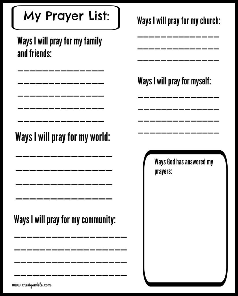 Free Prayer Journal Pages Designed For Children And Teens