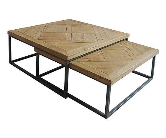 2 tables bois et m tal naturel et marron 559 product table pinterest table bois. Black Bedroom Furniture Sets. Home Design Ideas