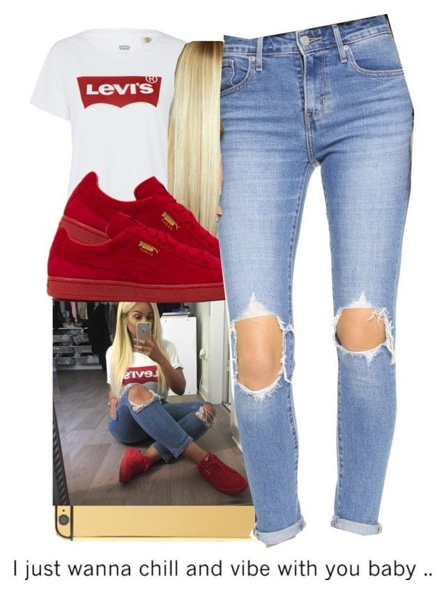 """"""" I know you been going through som things, uh huh."""" by destinieeee ❤ liked on Polyvore featuring Levi's, Goldgenie and Puma"""