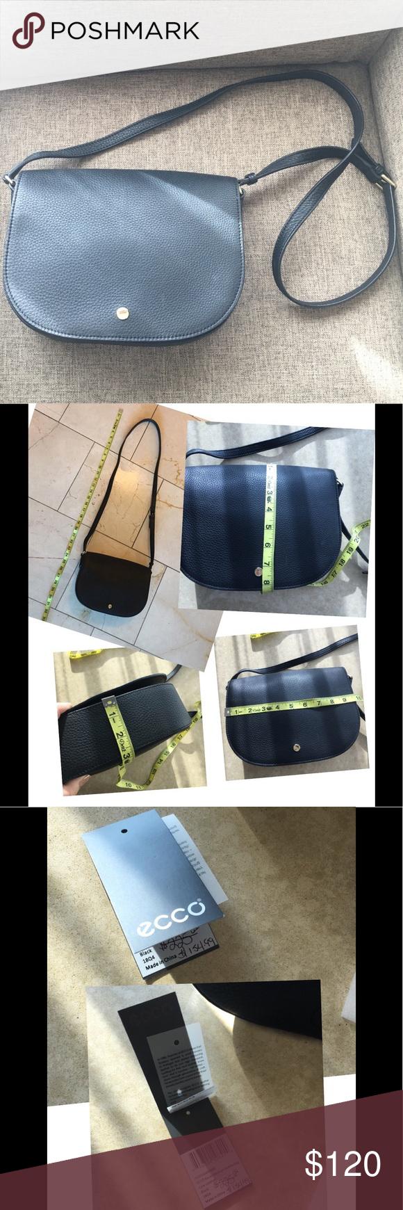 58a858ba57 Ecco Kauai Medium Black Leather Saddle Bag Pristine condition ...