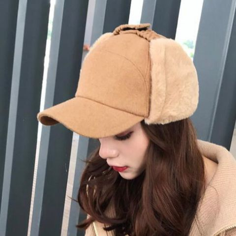 Khaki wool baseball cap for women winter hats with ear flaps warm ... 3645d0cab