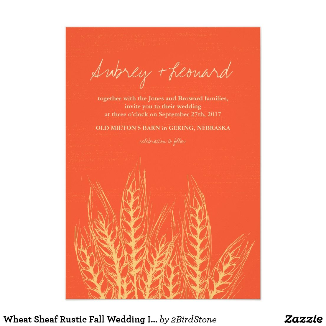 Wheat Sheaf Rustic Fall Wedding Invitation Warm harvest oranges and ...