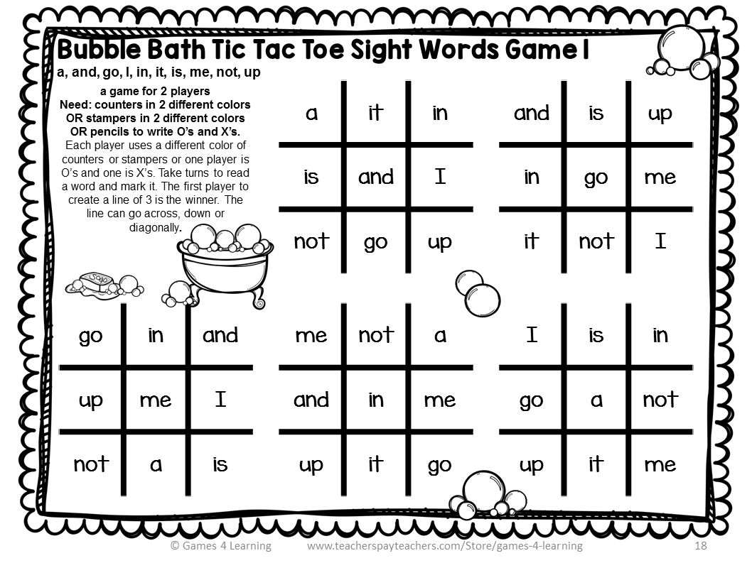 Dolch Sight Words Pre Primer List Games for Centers or