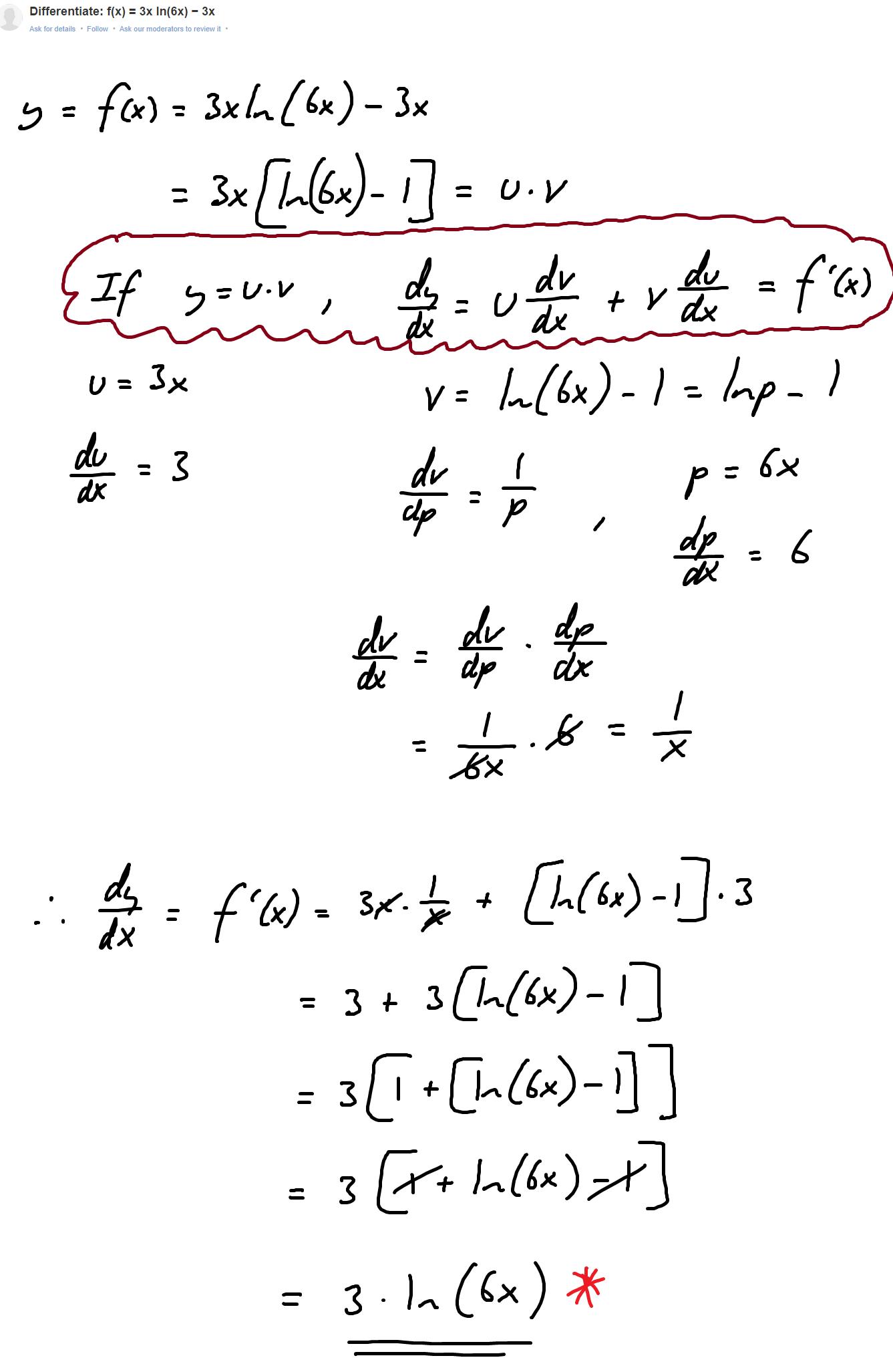 Derivative Of 3xln 6x 3x