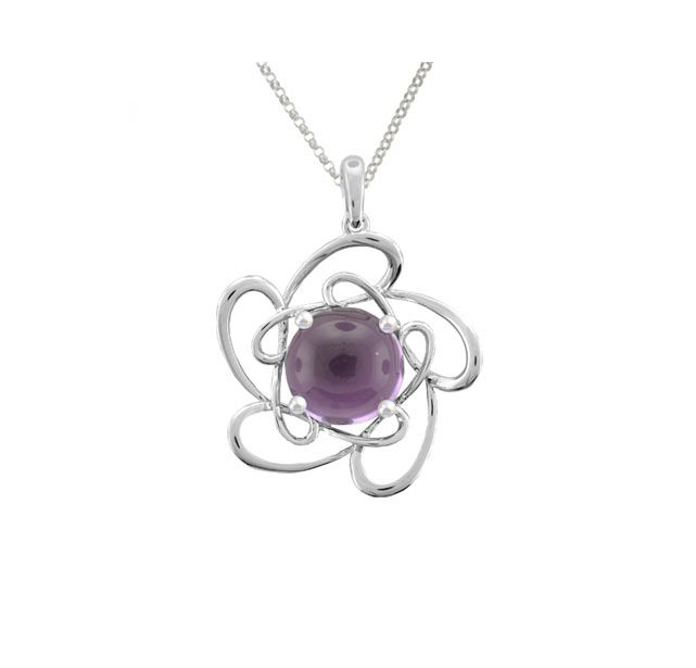 Amore Argento Silver Pendant & Necklace  * Amethyst-Set Flower-Shaped Pendant * Rhodium-Plated * Sterling Silver * Reference 9010SILAM