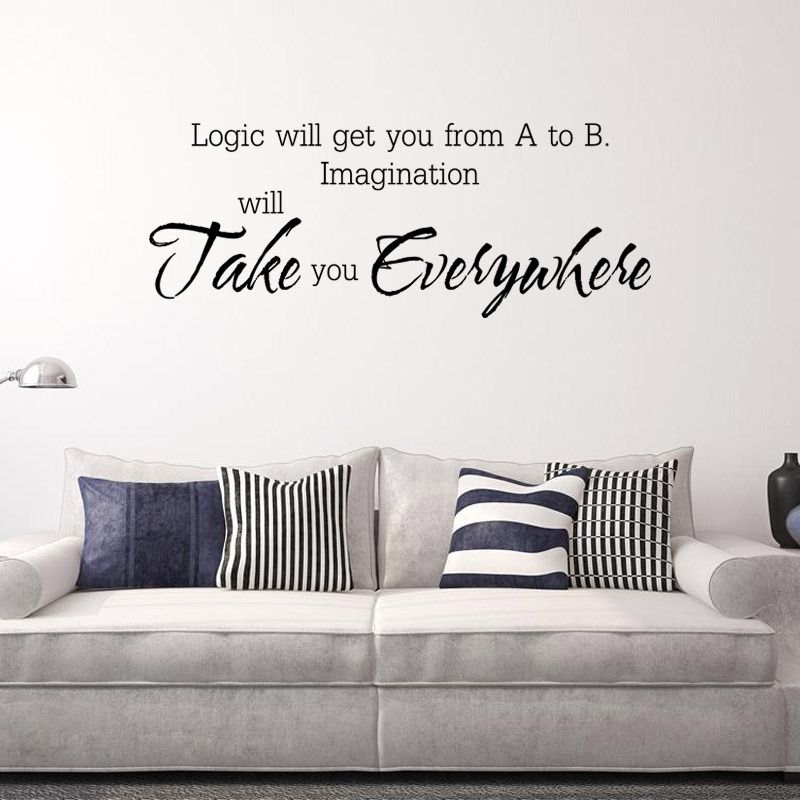 Aliexpress Com Buy Aw9164 Imagination Will Take You Everywhere Wall Stickers Home Decor Study Classroom Helloday Wall Stickers Home Decor Wall Stickers Wall