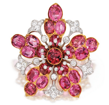 GOLD, PLATINUM-TOPPED GOLD, PINK TOURMALINE AND DIAMOND BROOCH, DESIGNED BY PAULDING FARNHAM FOR TIFFANY & CO.