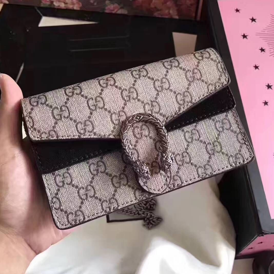 323811f47b21 Gucci Dionysus GG Supreme Super Mini Bag 476432 Black 2017 | Gucci ...