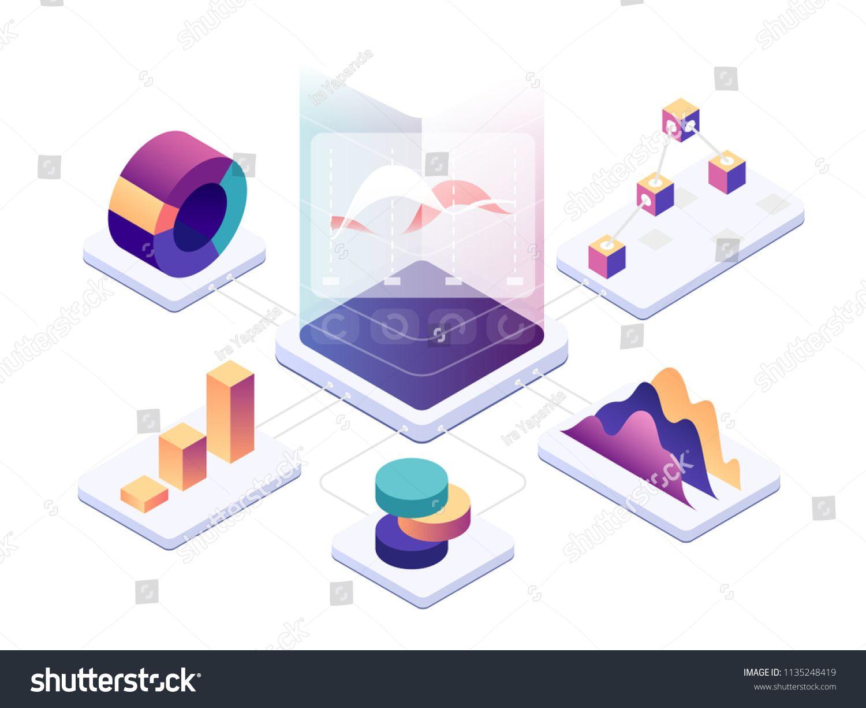 Isometric Data Analysis Modern Digital Graphics And Charts