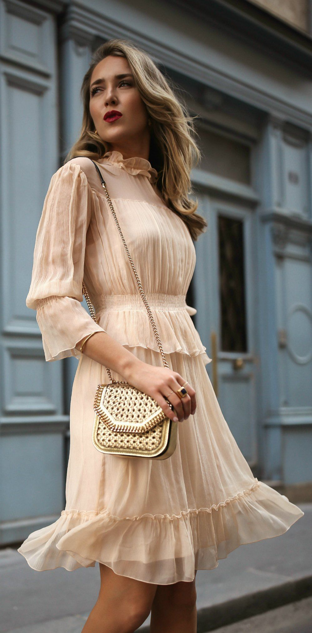 30 Dresses in 30 Days | Day 14: What to Wear to a Baptism // Light nude  apricot ruffle flounce trim long sleeve short dress, tan metallic woven  shoulder bag ...