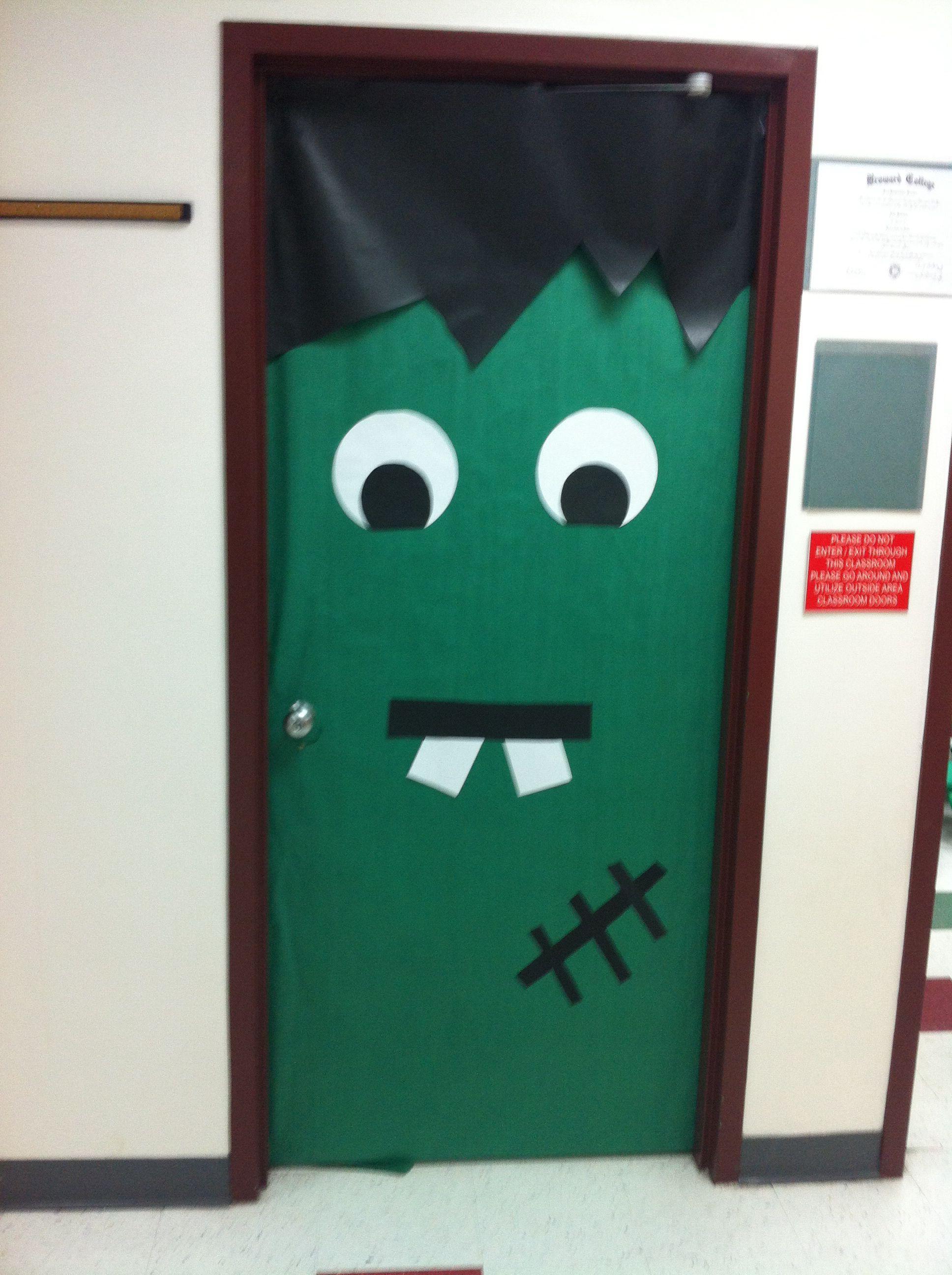 Frankenstein Door Decor I made for my classroom door a little