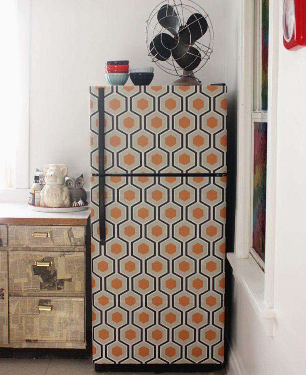 papier peint adhésif repositionnable réfrigérateur cuisine | Kitchen ...