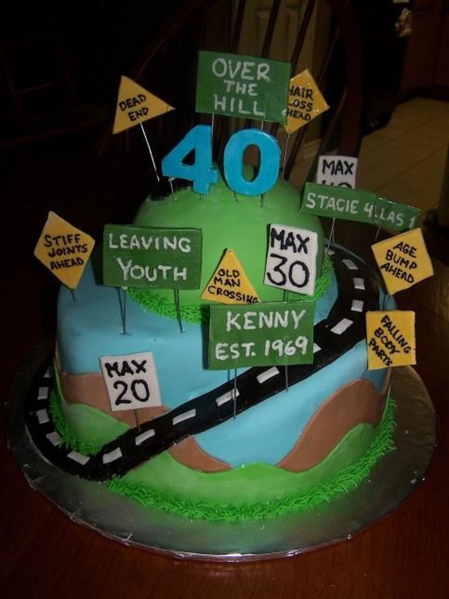 Amazing Road Dad Birthday Cakes 40Th Birthday Cakes Over The Hill Cakes Personalised Birthday Cards Vishlily Jamesorg