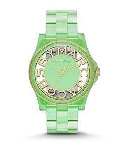 Marc by Marc Jacobs Fluro Mint Green Henry Skeleton Analog Watch