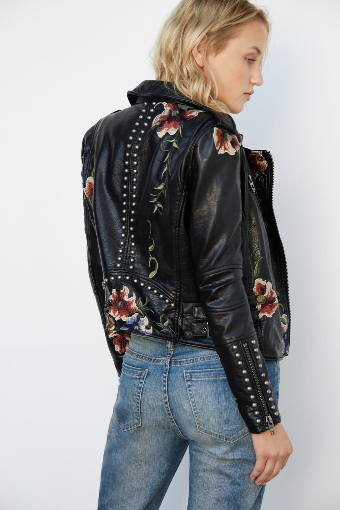 Floral embroidered leather jacket Vegan leather jacket