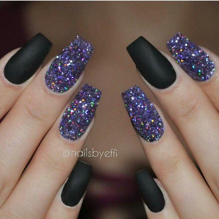 Flat black acrylic nails with glitter party nails | Makeup/nails ...