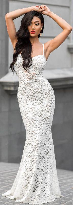 White Lace Dress  / fashion by Micah Gianneli.