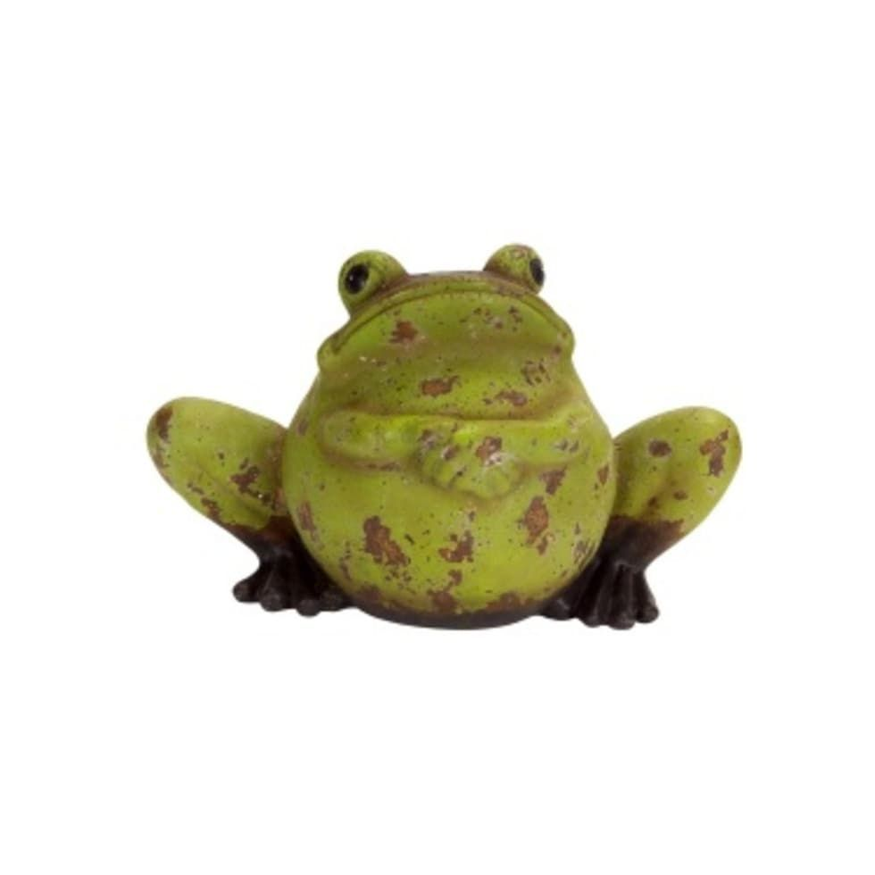 Green And Rust Weathered Terracotta Frog Decorative Garden Statue 7