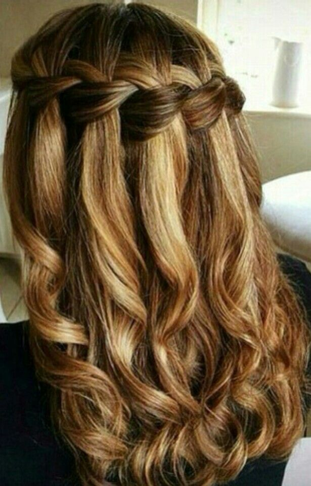 Balayage Curly Hair With Waterfall Braid Gorgeoushair Hairstyles