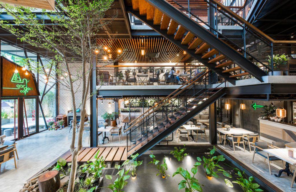 Le House Designs A Secret Garden Cafe In Hanoi Garden Cafe Cafe Design Coffee Shop Design