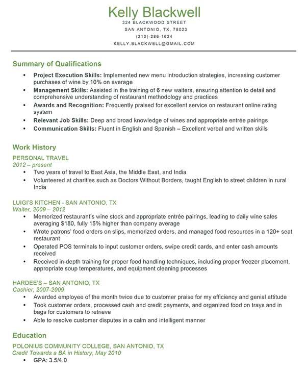 Sample Job Resume Qualifications - Sample Job Resume - resume sample for waiter