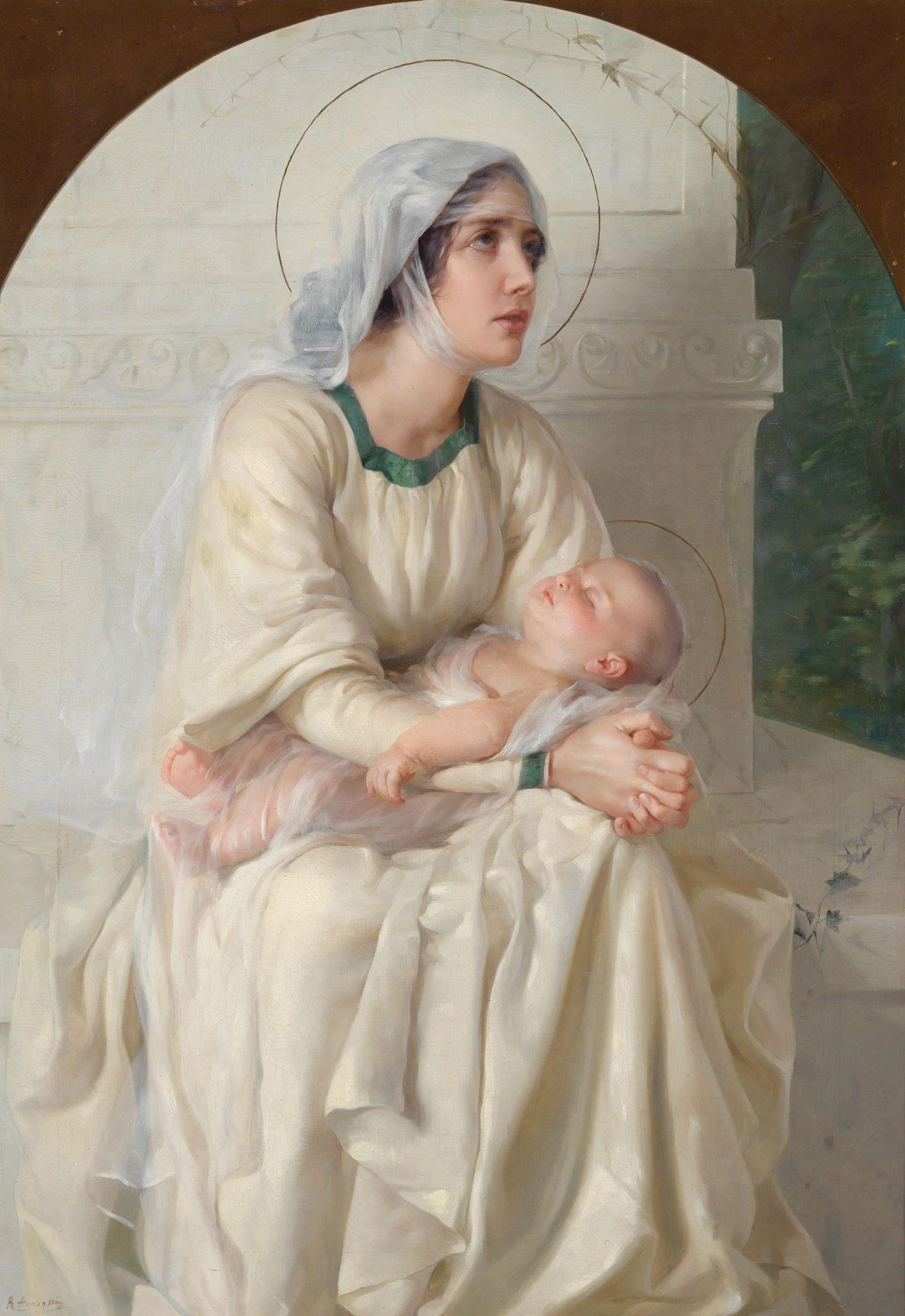 Italienische Schule des 19. Jahrhunderts Madonna mit Kind, undeutlich signiert R. Ansign