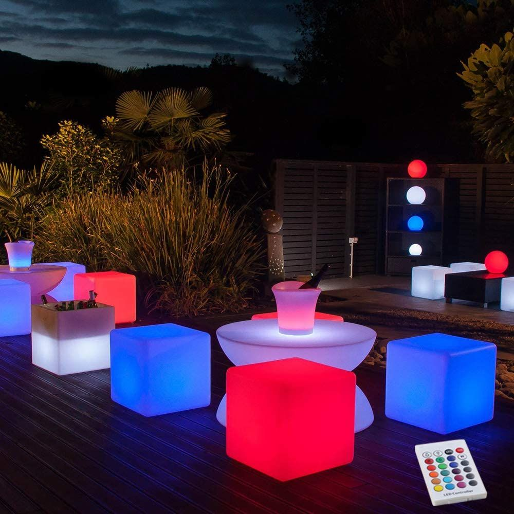 16-Inch LED Light Cube Decorative Glow Furniture Waterproof Rechargeable Adjustable RGB Color Changing Stool with Remote Control for Party Mood Lamp Night Romantic Indoor Outdoor Decorative Lighting