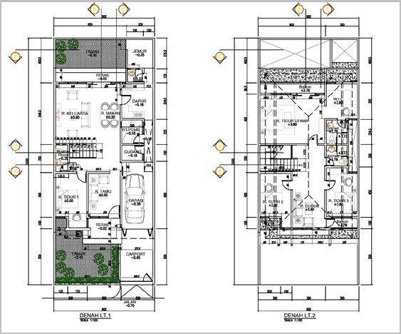 Desain Rumah 2 Lantai Dwg  gambar denah rumah minimalis 2 lantai modern 10 denah