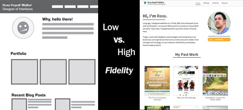 Low vs. High Fidelity Prototype and Wireframe