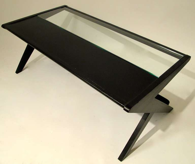 Mid Century Modern Coffee Table with Magazine Rack