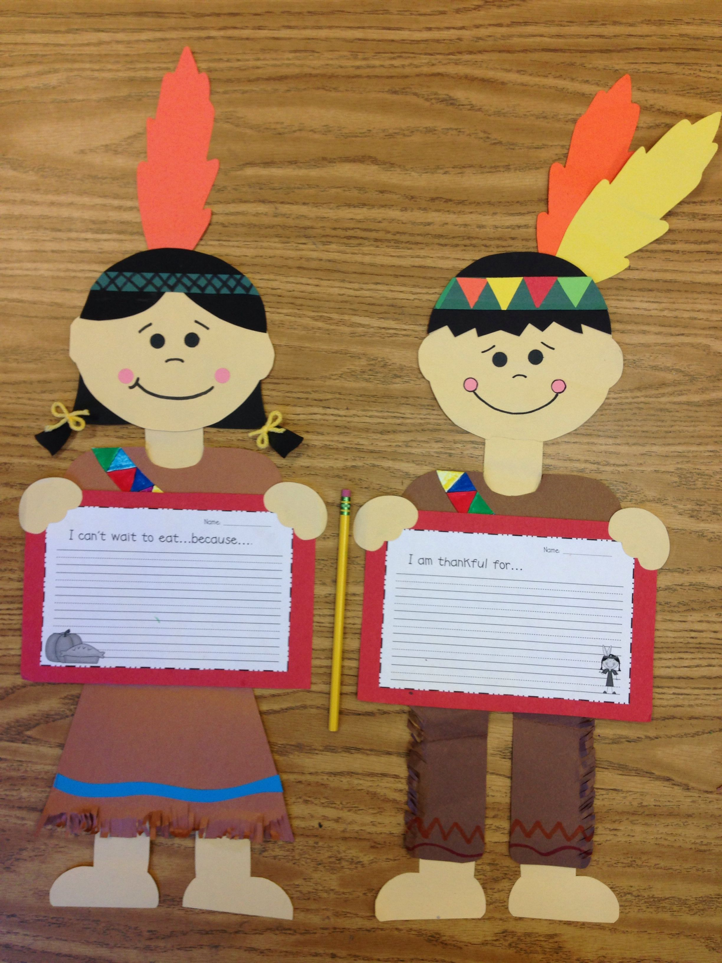 Fall Thanksgiving Indian Boy And Indian Girl Craft Primary