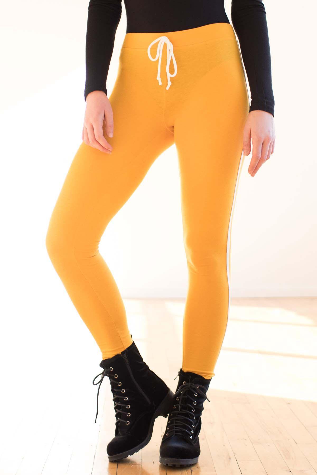 e791ecd54ee16 Mustard Tie Waist Sport Leggings   • Clothes I Want •   Sports ...