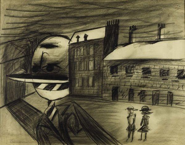 charles blackman playground at night charcoal