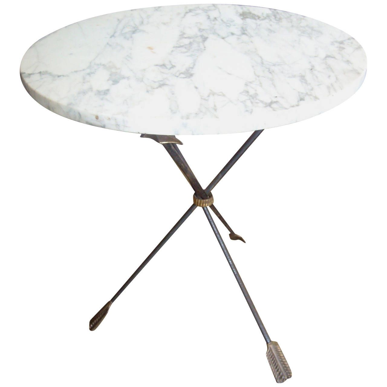 Italian Iron Brass and Marble Table Gueridon with Tripod base Gio