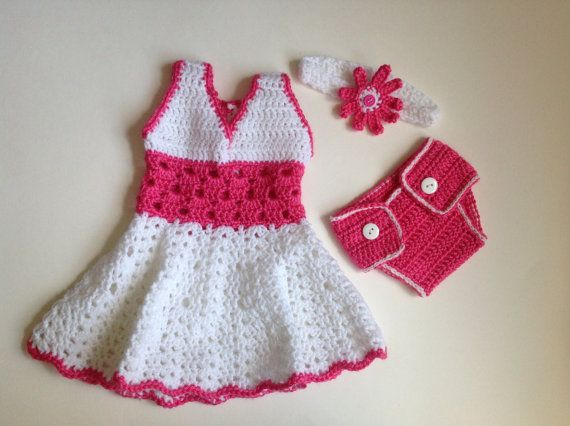 Crochet Baby Girl Dress With Headband And Diaper Cover Pdf Pattern