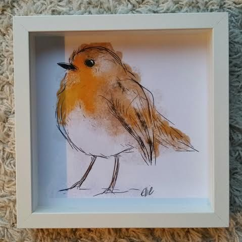 framed robin drawing robin painting christmas gift christmas present robin gifts robin christmas decoration framed print