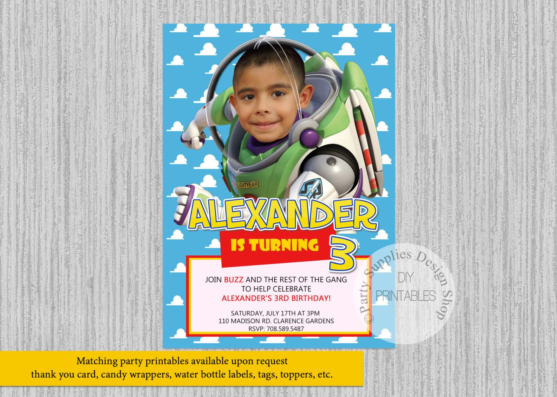 Printed Or Digital Toy Story Buzz Lightyear Birthday Invitations