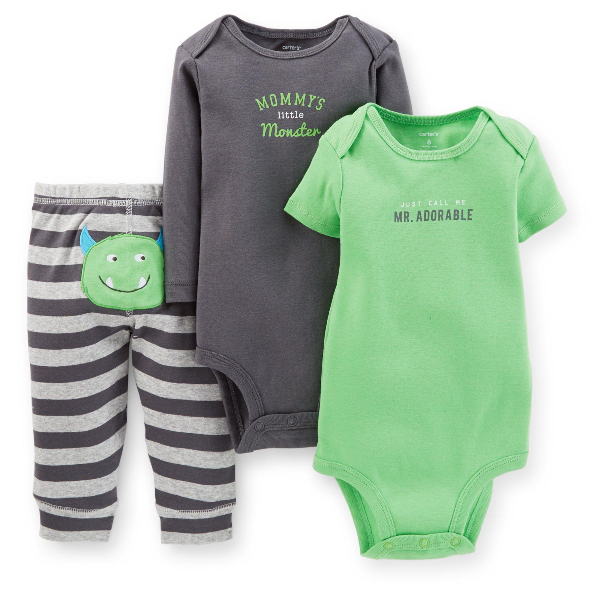 7ec72b281 Carter's Baby Boys' 3-piece Bodysuit & Pant Set (Newborn, Green ...