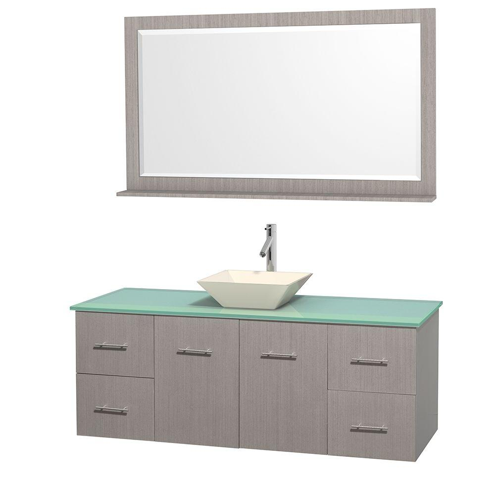 Wyndham Collection Centra 60 In Vanity In Gray Oak With Glass