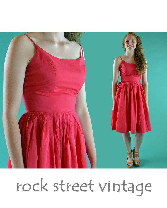Vintage 50s Dress Sun Dress Spaghetti Straps Full Skirt