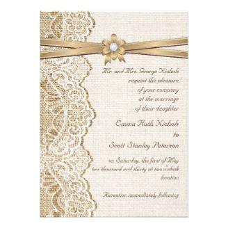 White Lace Ribbon Flower & Burlap Wedding Card