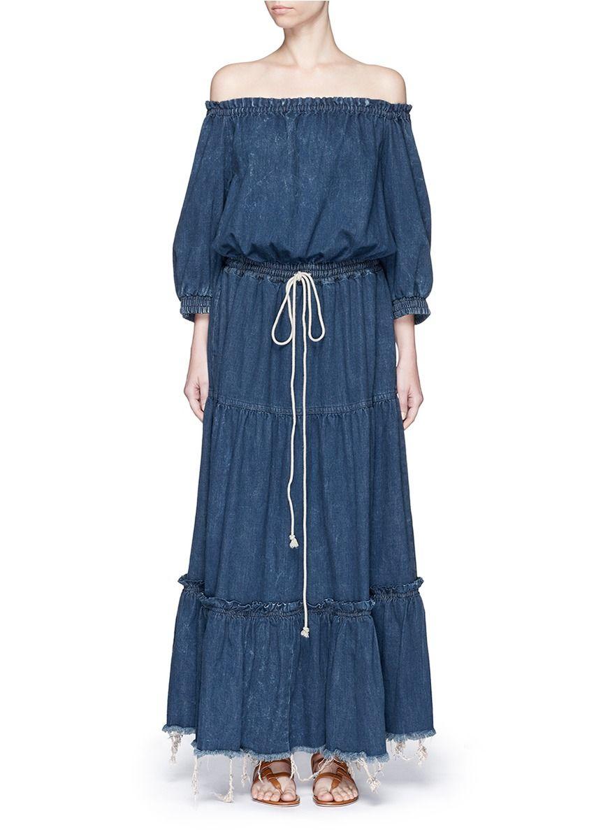 1c3b8e8ab215 CHLOÉ Tiered Ruffle Off-Shoulder Drawstring Denim Maxi Dress.  chloé  cloth   dress