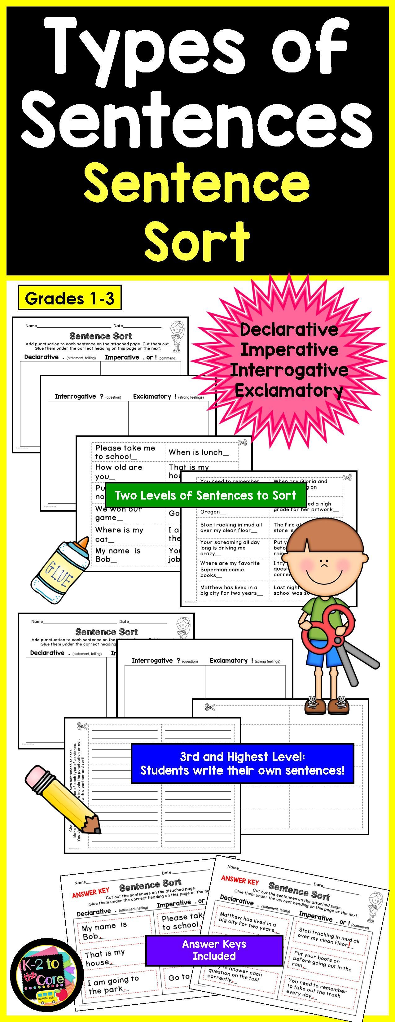 Types Of Sentences Amp Punctuation Sentence Sort With