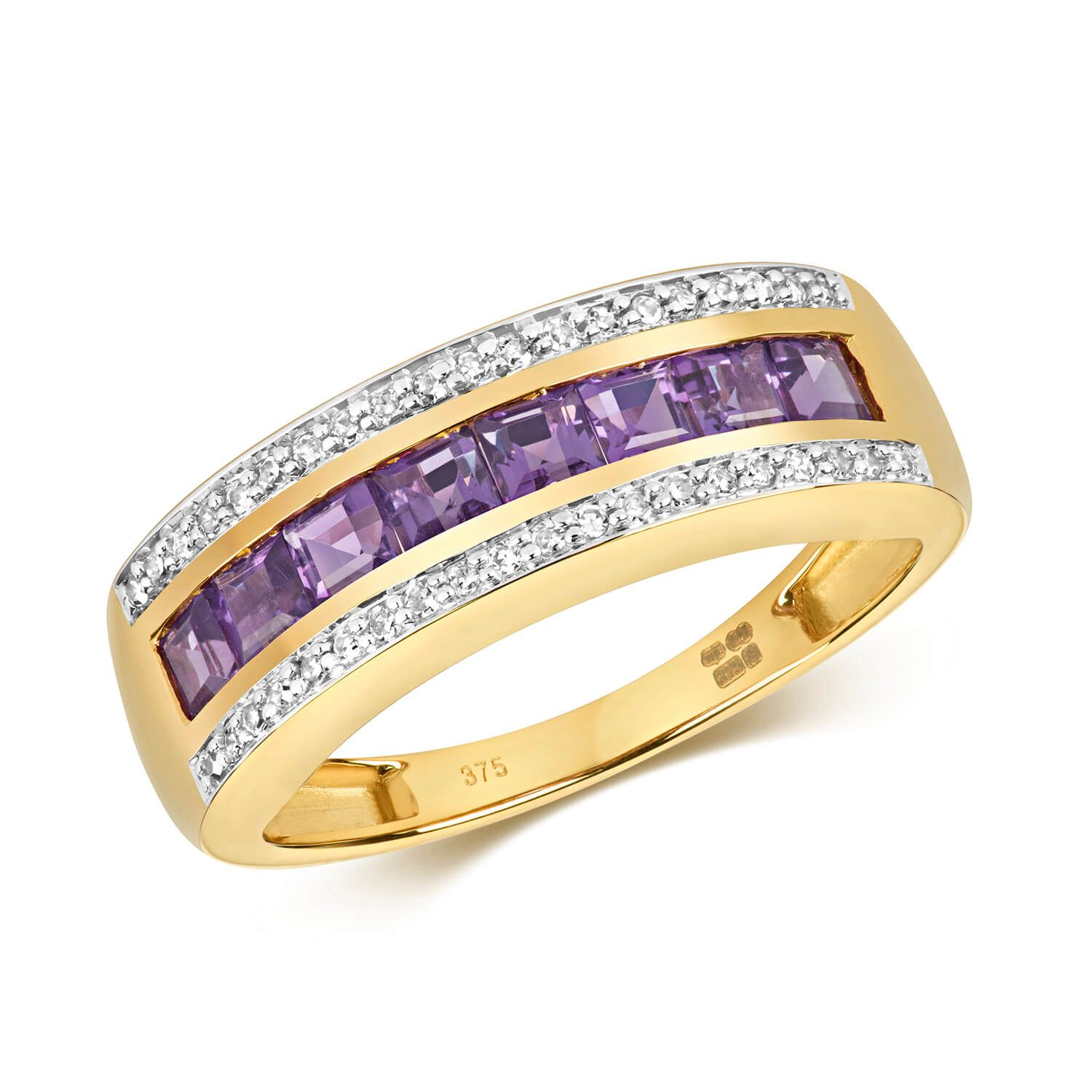 9ct yellow Gold Amethyst & Diamond Eternity Ring | Diamond ...