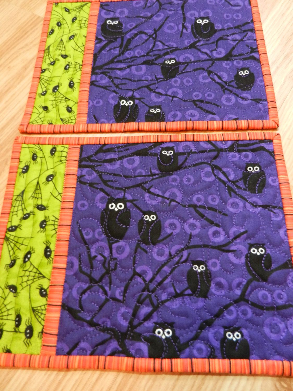 Halloween Owl Mug Rug or Snack Mat Quilted via Etsy.